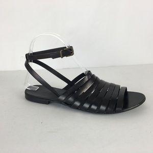 J Crew Black Ankle Strap Flat Sandal  Women Size 8